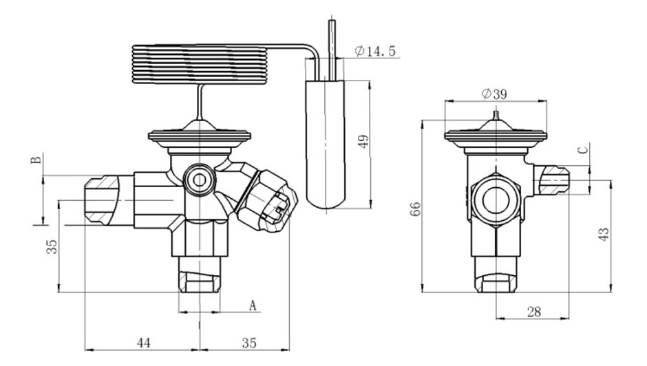 Valve Body - Connection Type: flare/flare/flare
